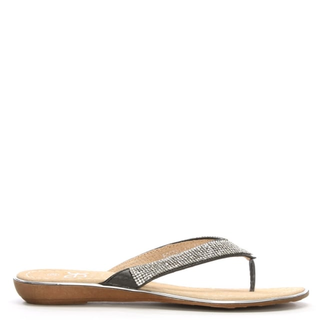 Stanlow Black Metallic Crystal Toe Post Sandal