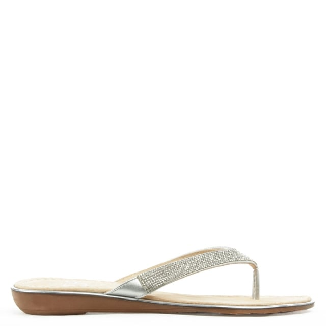 Stanlow Silver Metallic Crystal Toe Post Sandal