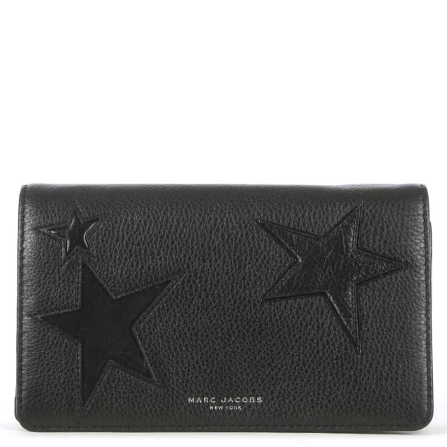 Star Patchwork Black Leather Strap Wallet