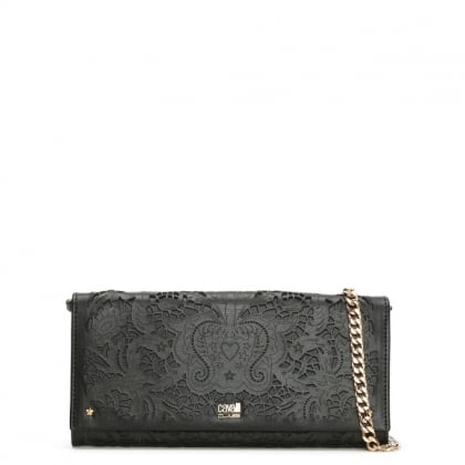 Stardust Black Leather Laser Cut Chain Strap Wallet