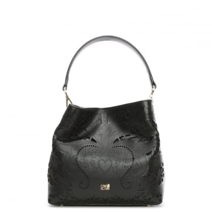 Stardust Black Leather Laser Cut Satchel