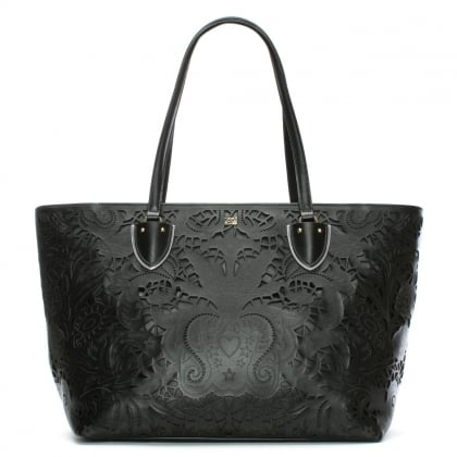 Stardust Black Leather Laser Cut Shopper Bag