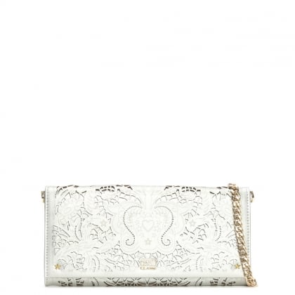 Stardust Silver Leather Laser Cut Chain Strap Wallet