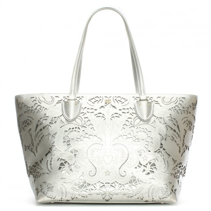 Stardust Silver Leather Laser Cut Shopper Bag