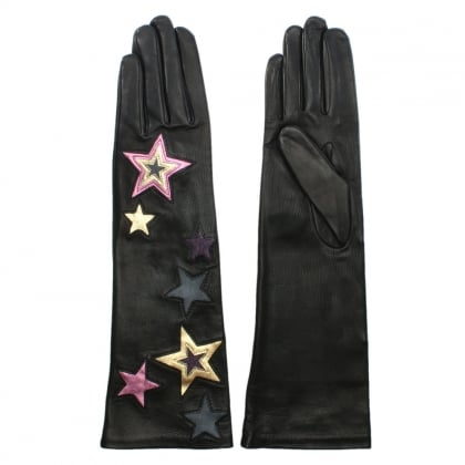 Stars Black Leather Long Length Gloves
