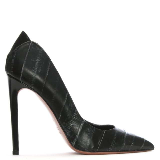 Stella Black Leather Textured Court Shoes