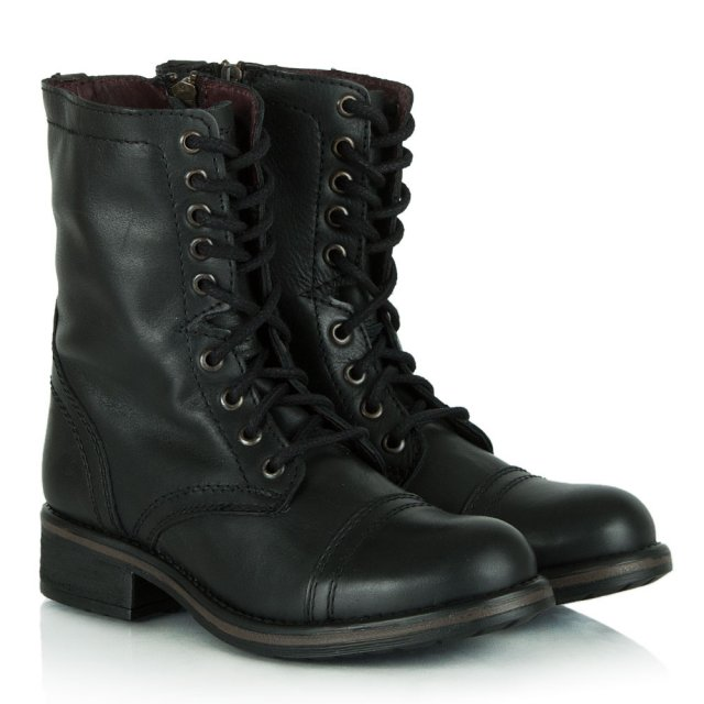 4c20b685f60 Tropa Black Leather Military Lace Up Flat Ankle Boot