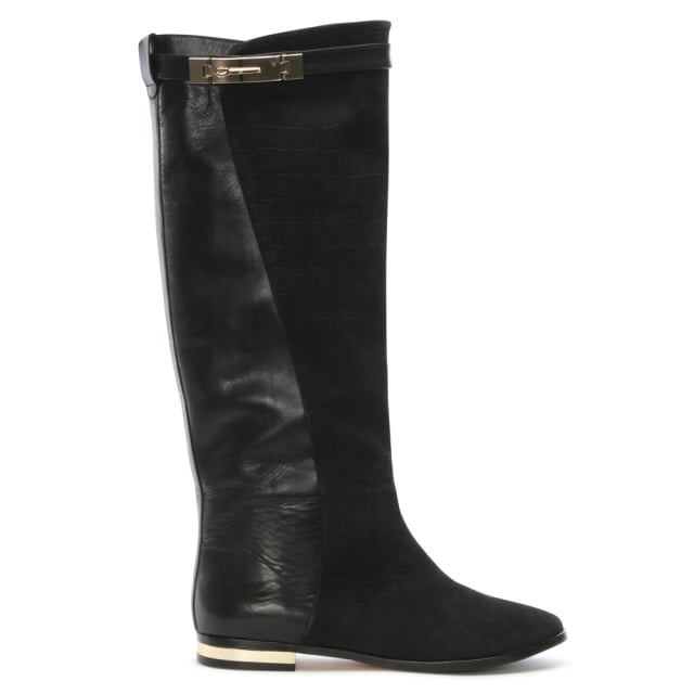 Stirling Black Leather Moc Croc Knee Boots