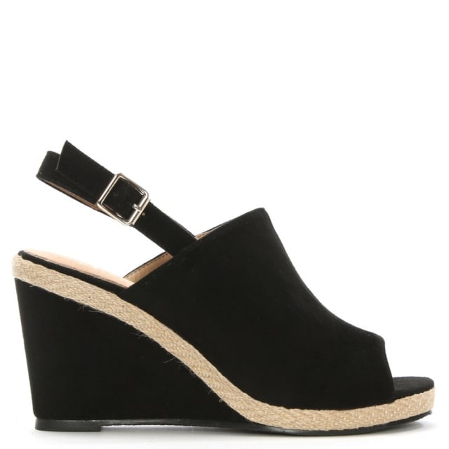 Stonebow Black Sling Back Wedge Sandal