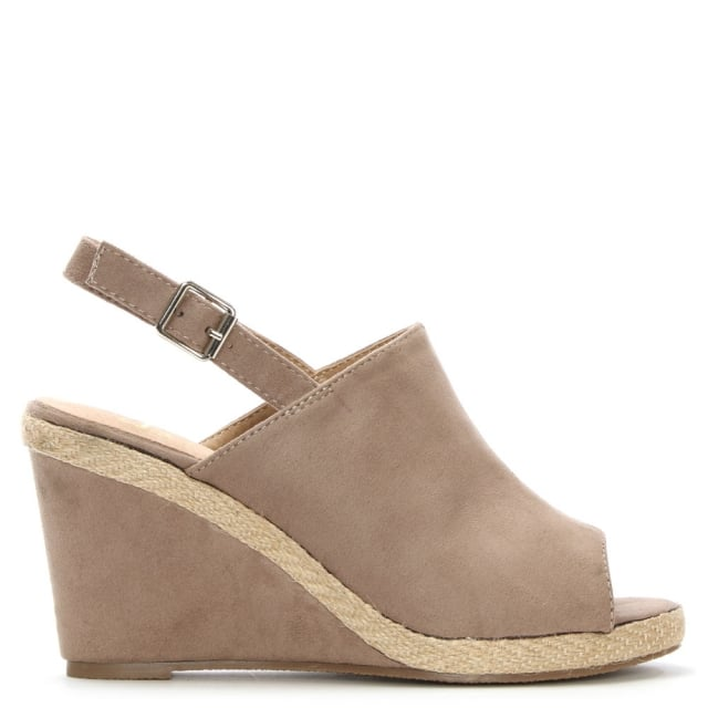 Stonebow Taupe Sling Back Wedge Sandal