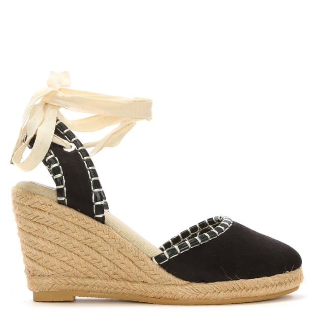 Stonegate Black Ankle Tie Espadrille Wedge