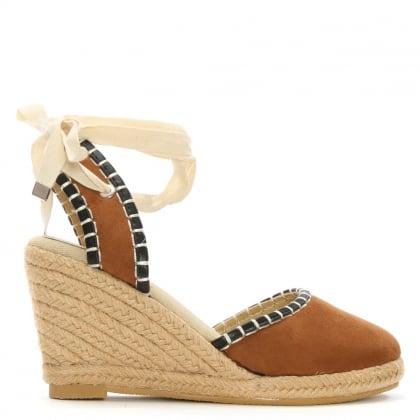 Stonegate Tan Ankle Tie Espadrille Wedge