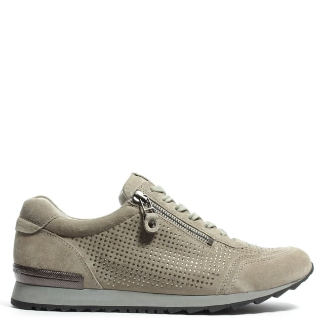 Storry Beige Suede Diamante Embellished Trainer