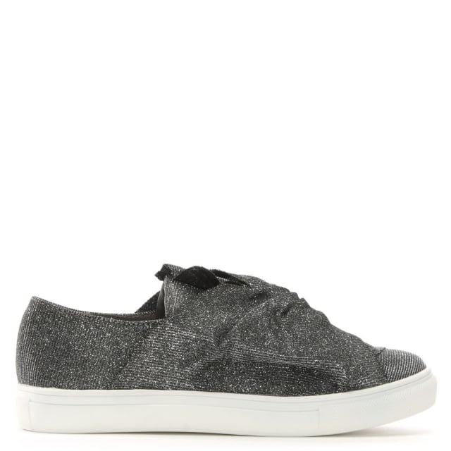 Storwood Pewter Metallic Twist Bow Sneakers