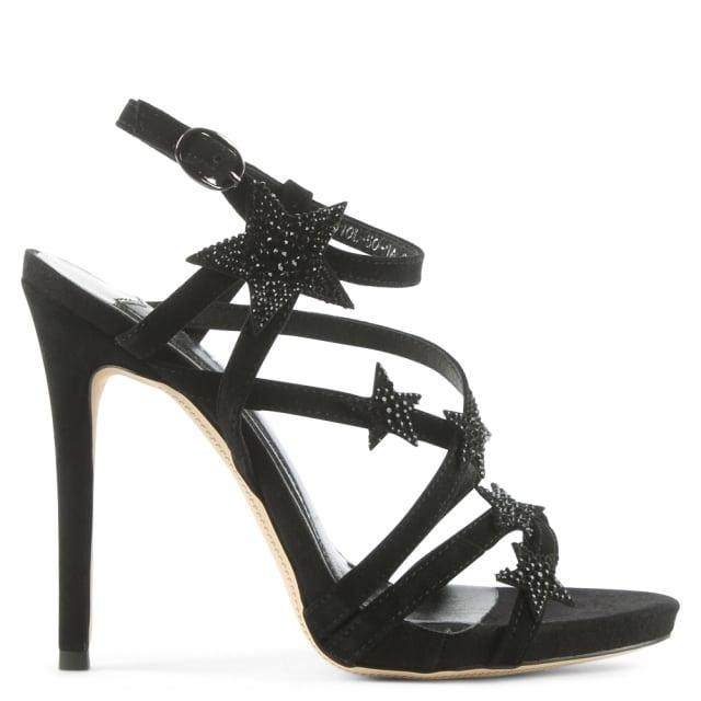 Strappy Black Suede Crystal Star Sandal