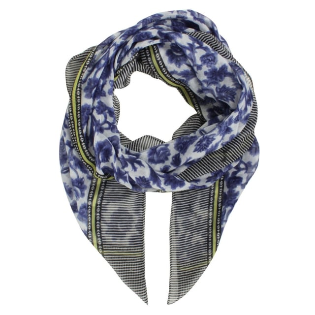 Stripe Patterned Navy Scarf