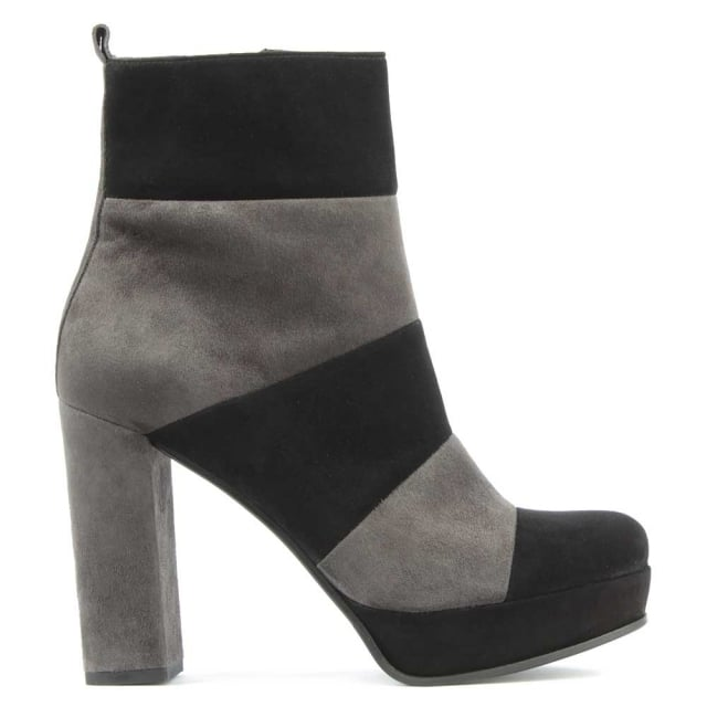 Striped Black & Grey Suede Platform Ankle Boot