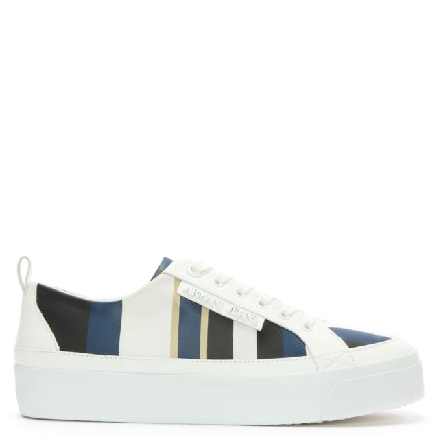 Armani Jeans Striped Navy & White Lace Up Trainer