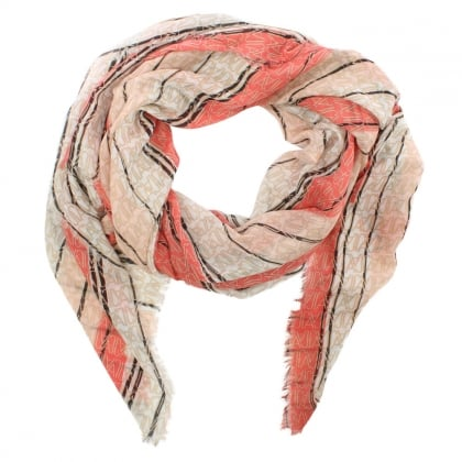 Striped Orange Logo Frayed Edge Scarf
