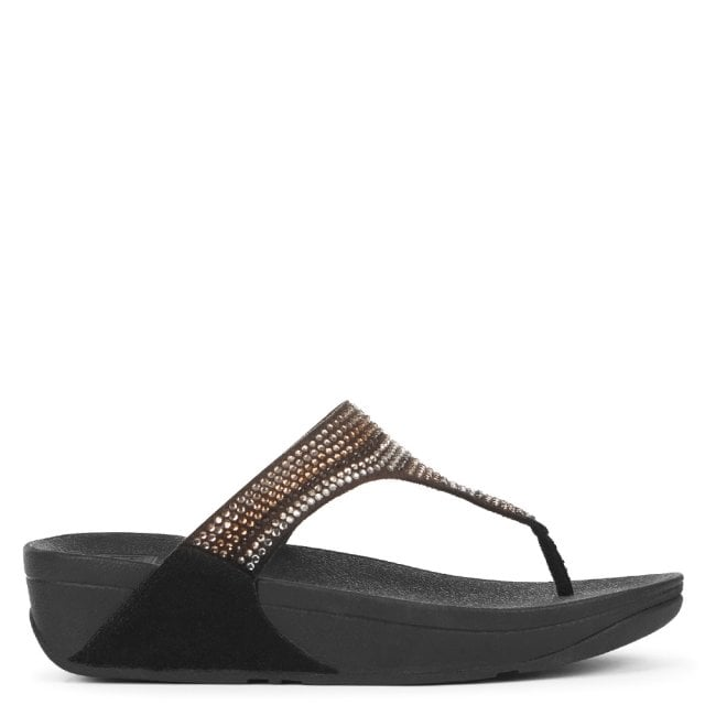 036362047 FitFlop Strobe Embellished Black Toe Post Flip Flops