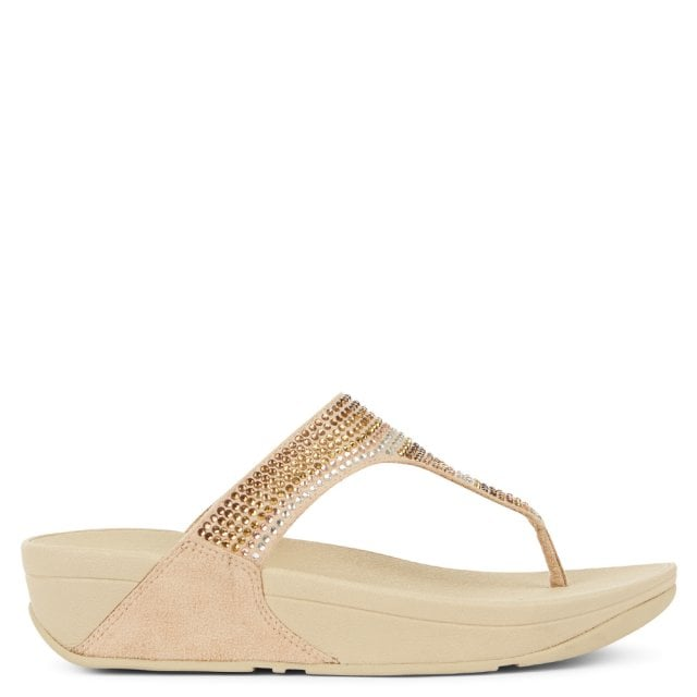9348f8a1d FitFlop Strobe Embellished Gold Toe Post Flip Flops