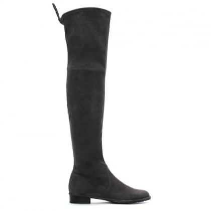 Stuart Weitzman Grey Suede Lowland Over The Knee Boots