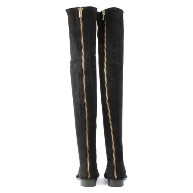 ca71dcf407b Stuart Weitzman Thighscraper Black Suede Gold Zip Over The Knee Boot