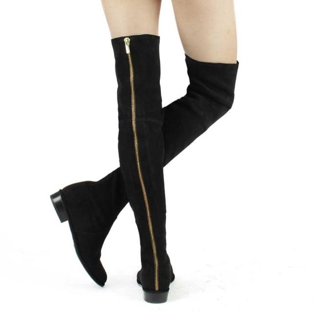 507451933ec Stuart Weitzman Thighscraper Black Suede Gold Zip Over The Knee Boot