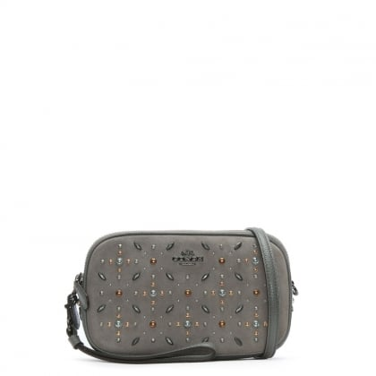 Studded Grey Leather & Suede Cross-Body Bag