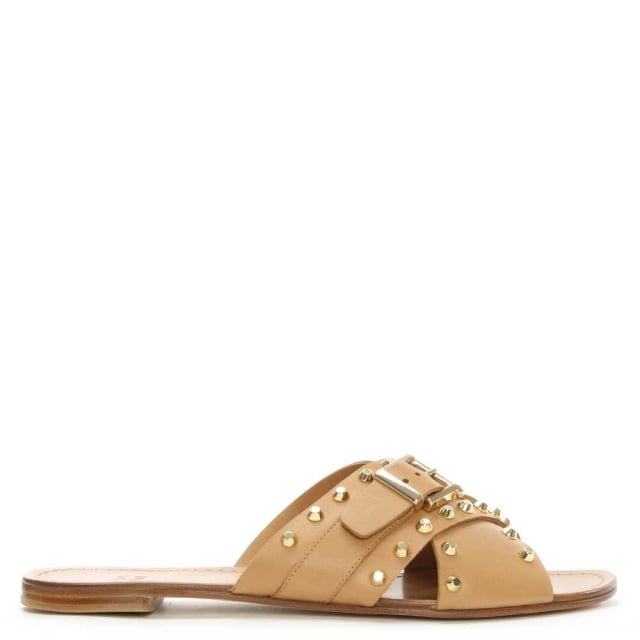 Stuart Weitzman Student Tan Leather Studded Mule