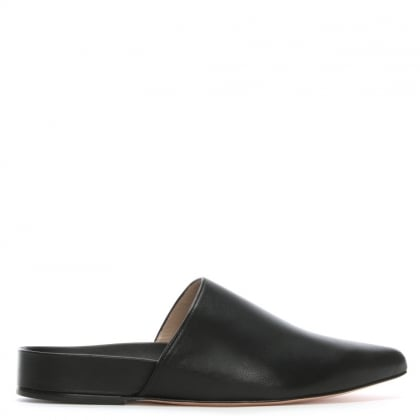 Studio Black Leather Flat Mules