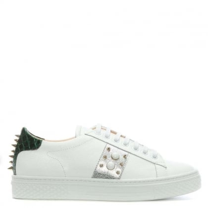 Studliest White Leather Embellished Trainer