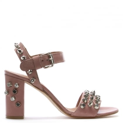Studsand Pink Leather Block Heel Sandals