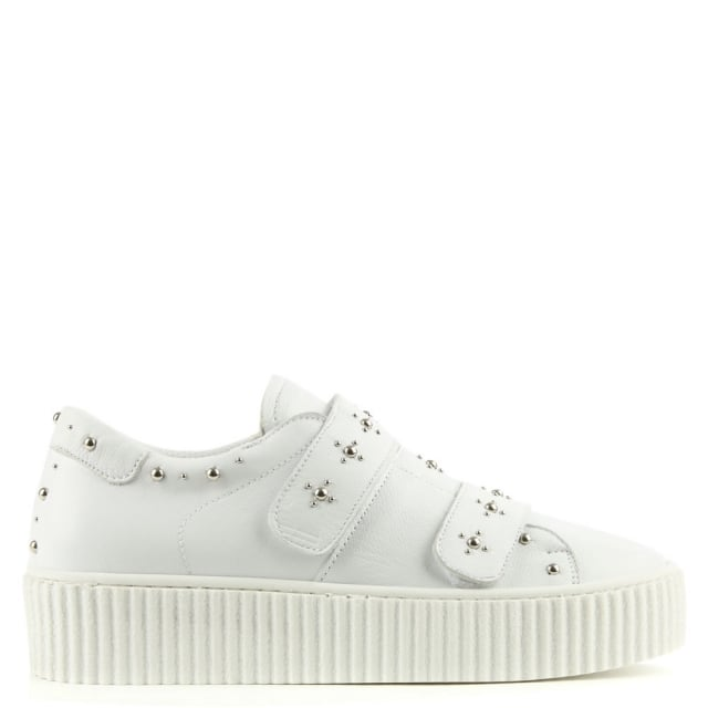 Studsy White Leather Flatform Trainer