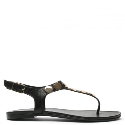 Studworks Black Leather T Bar Toe Post Sandal