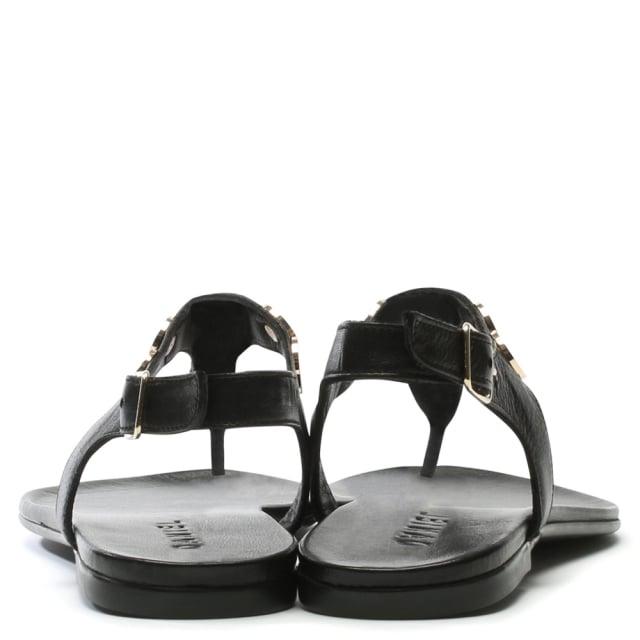 Black Leather T Bar Toe Post Sandal