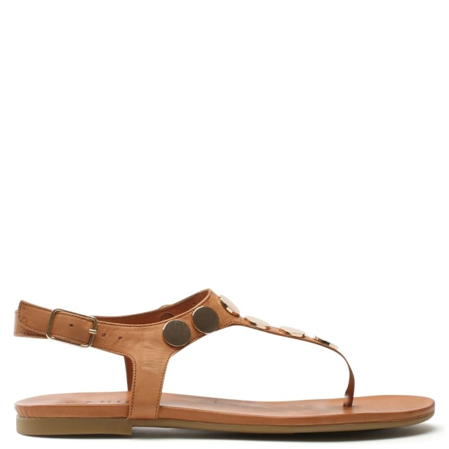 Studworks Tan Leather T Bar Toe Post Sandal