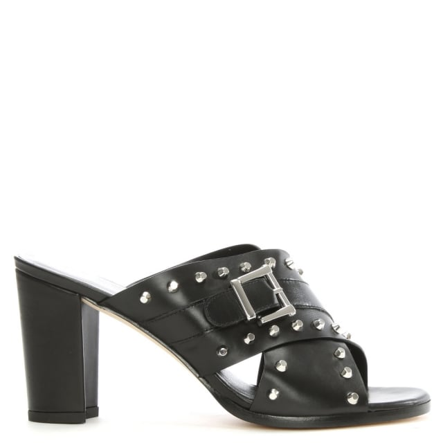Stuart Weitzman Studyhall Black Leather Cross Strap Studded Mule