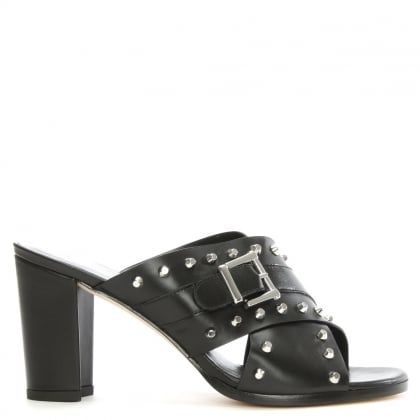 Studyhall Black Leather Cross Strap Studded Mule