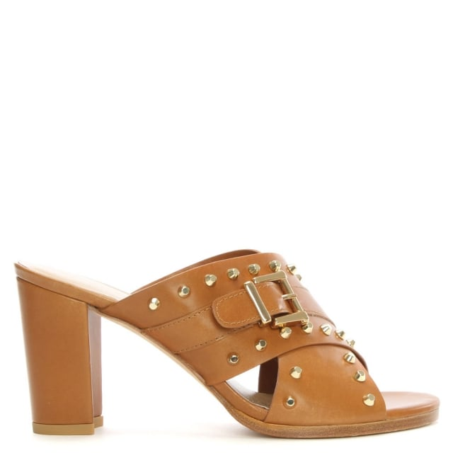 Stuart Weitzman Studyhall Tan Leather Cross Strap Studded Mule