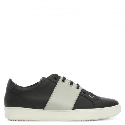 Sub Terranian Black Leather Lace Up Trainers