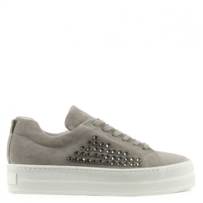 Succory Grey Suede Jewelled Lace Up Flatform Trainer
