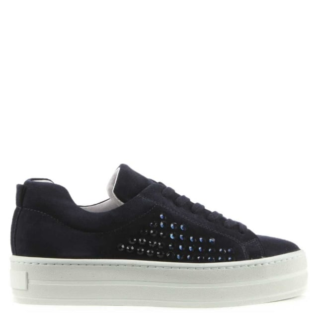 Succory Navy Suede Jewelled Lace Up Flatform Trainer