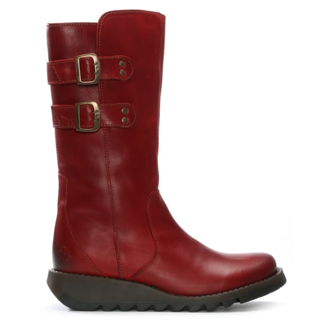 Suli Red Leather Wedge Low Knee Boots