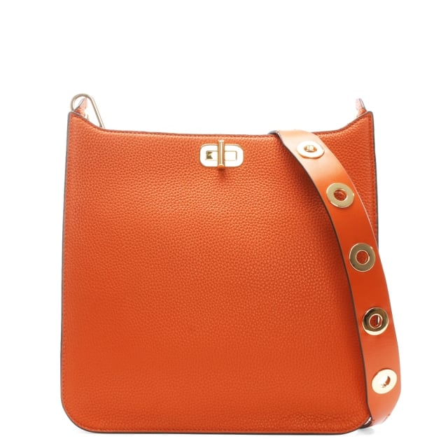 a710b8c7509a Michael Kors Sullivan Large Orange Leather Messenger Bag