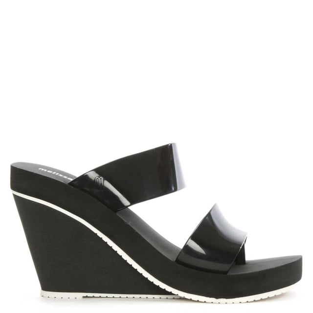 Summer High Black Rubber Wedge Sandal