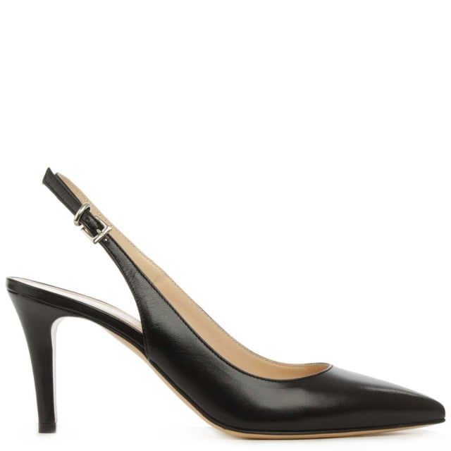 Summersville Black Leather Pointed Toe Sling Back Court Shoe