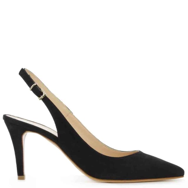 Summersville Navy Suede Pointed Toe Sling Back Court Shoe