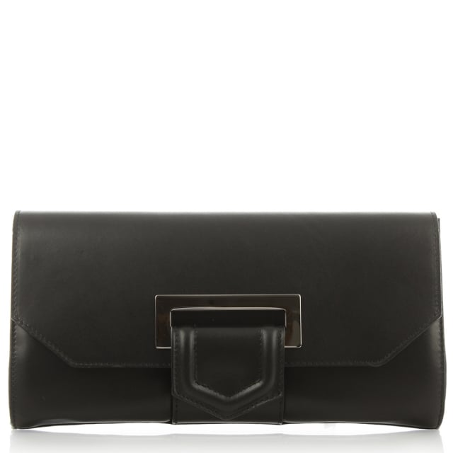 Summery Black Leather Clutch Bag
