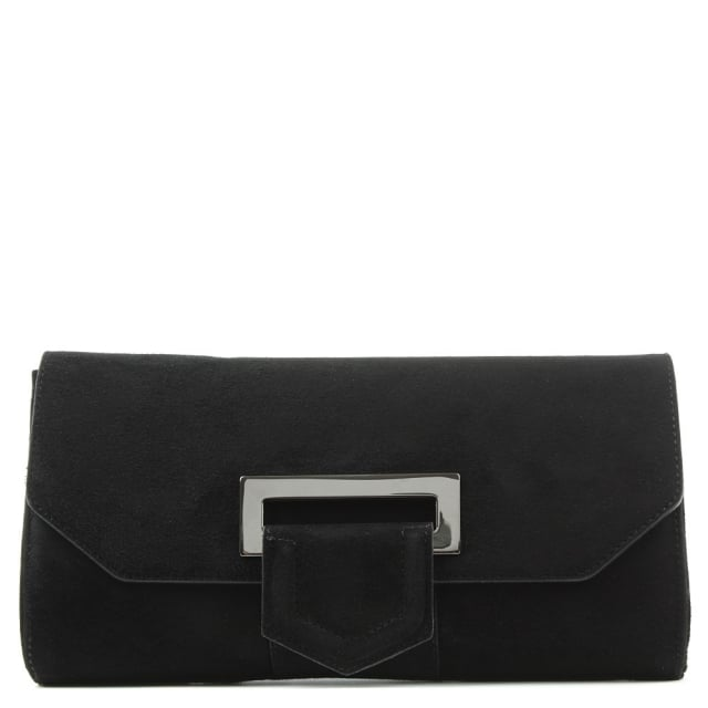 Summery Black Suede Clutch Bag